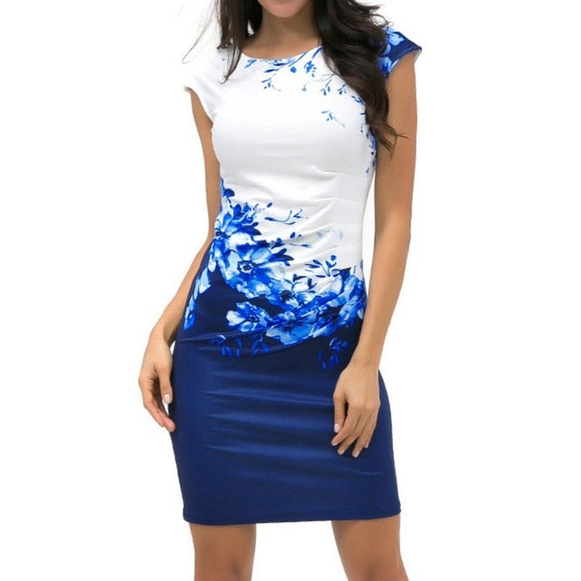 Casual Sleeveless O-Neck Print Slim Office Dress - Sheseelady