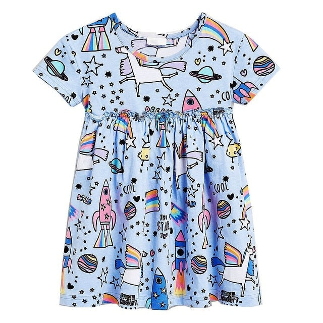 Animal Floral Cotton Kids Dresses For Toddler Girls - Sheseelady