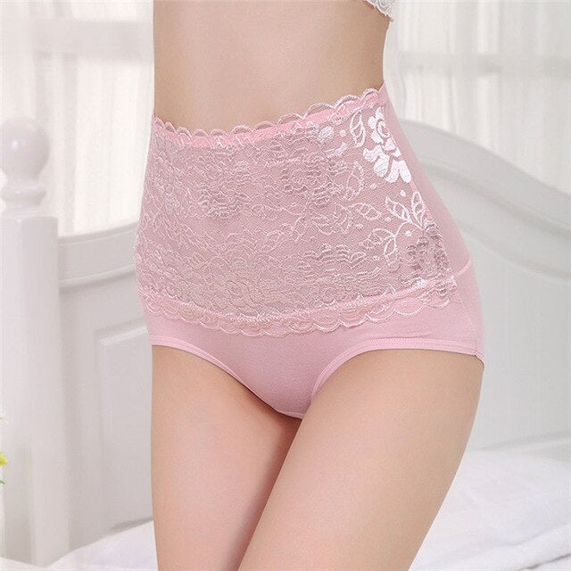 High Waist Briefs Panties For Women Sexy Lace Flowers Ladies Underpants Lingerie Slimming Panties Tummy Control Briefs - Sheseelady