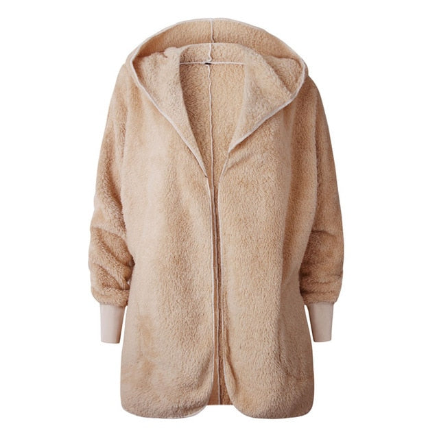 Shaggy Hooded Teddy Coat Long Sleeve Lambswool Faux Fur Coat Women Autumn Winter Cardigan Plush Fur Fluffy Jacket Femme