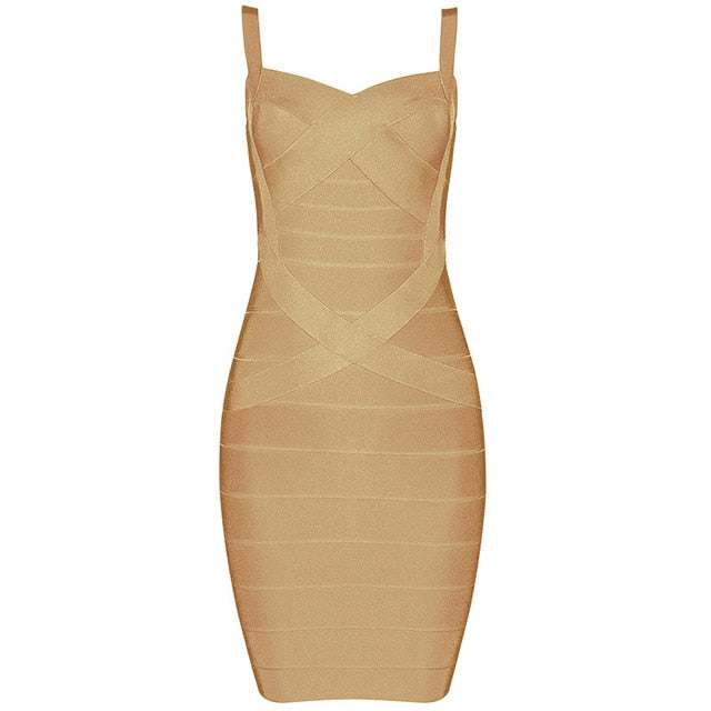 Sexy Spaghetti Strap Strapless Mini Bandage Dress