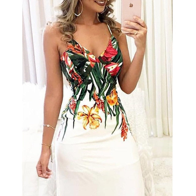 Boho Floral Printed Sleeveless Long Maxi Party Dress - Sheseelady