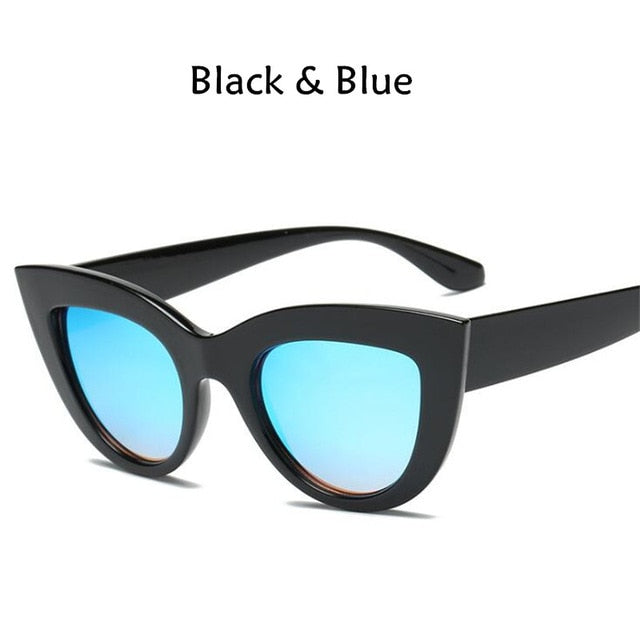 New Cat Eye Women Sunglasses Tinted Color Lens Men Vintage Shaped Sun Glasses Female Eyewear Blue Sunglasses Brand Designer