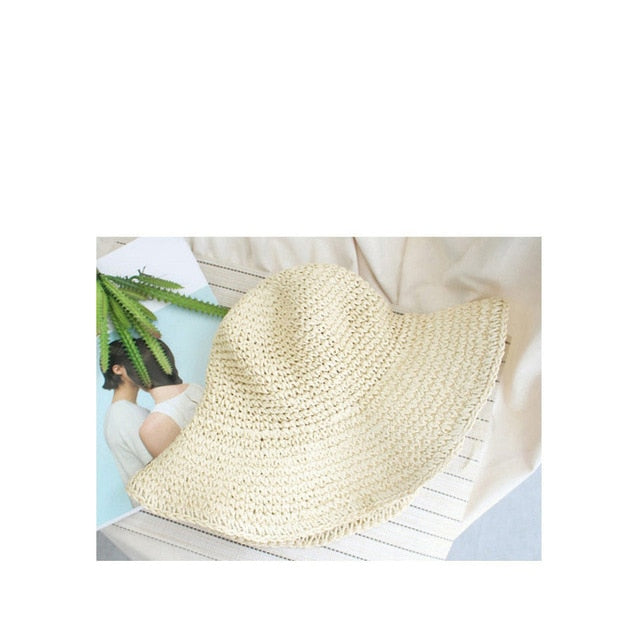 Summer Hats For Women Sun Beach Panama Straw Hat Large Wide Brim Folded Outdoor Visors Cap