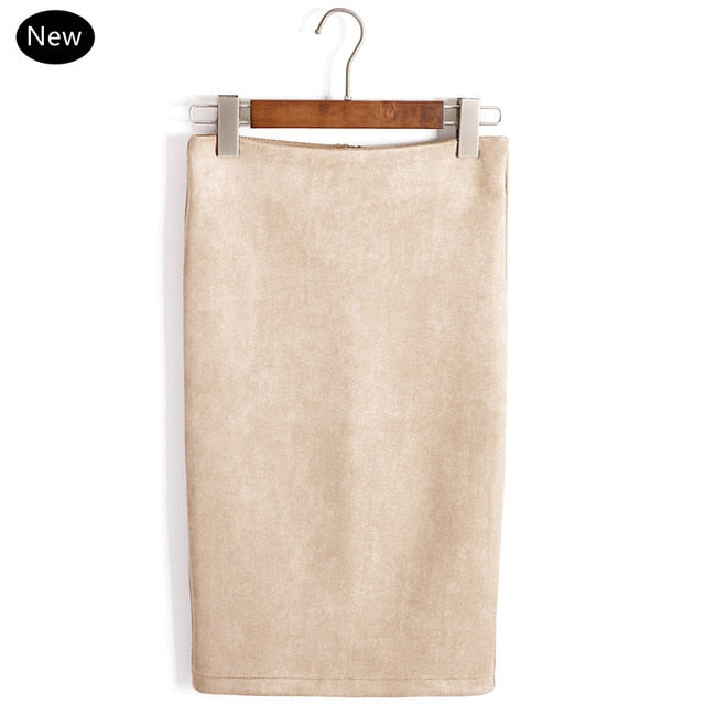 Multi Colors Women Skirt Solid Suede Work Wear