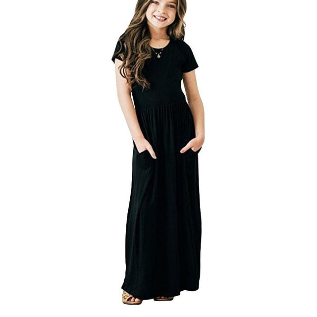 Casual Sundress Outfits Maxi Dress With Pocket - Sheseelady