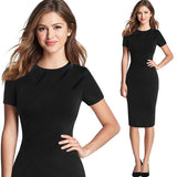 Elegant Patchwork Slim Casual Office Party Dress - Sheseelady