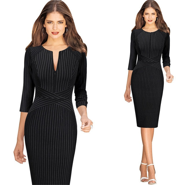 V Neck Front Zipper Long Sleeve Slim Office Party Dress