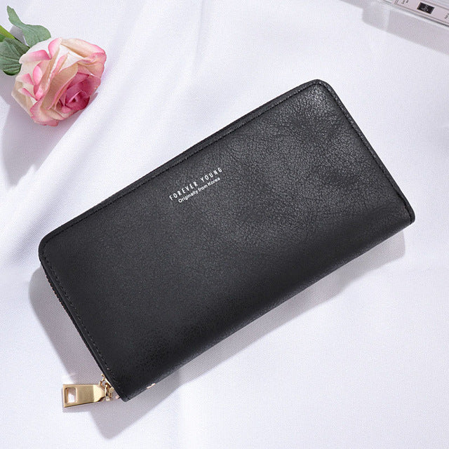 Pu Synthetic Leather Wristband Zipper Closure Casual Wallet
