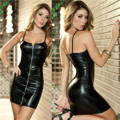 Pu Leather Black Sexy Club Bodycon Midi Office Dress
