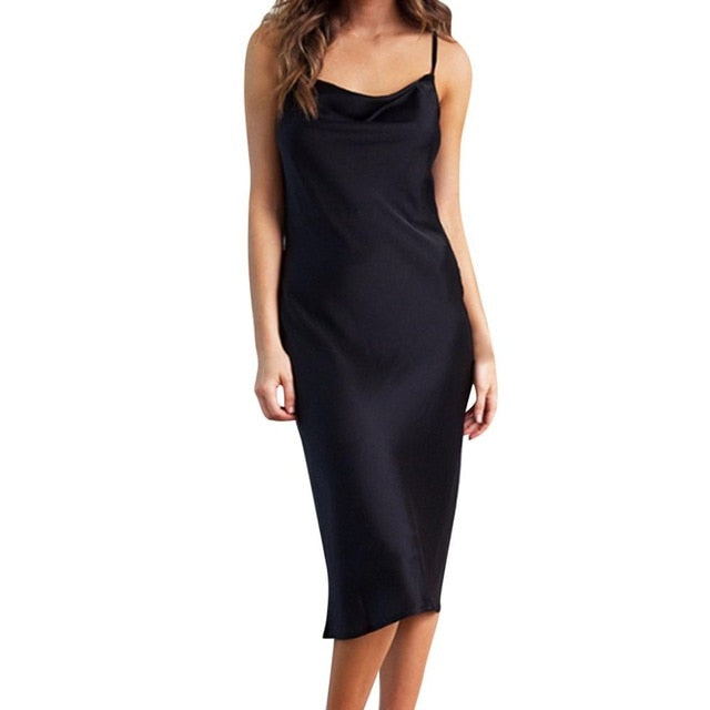 Spaghetti Strap Backless Sexy Midi Party Night Club Dress