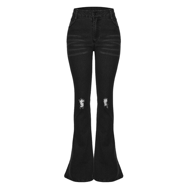 Female Hole Mid Waist Stretch Slim Flare Jeans - Sheseelady