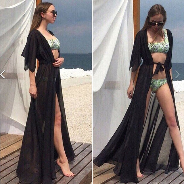 Solid Long Bikini Tunic For Sarong Saidas Beach Cover Up