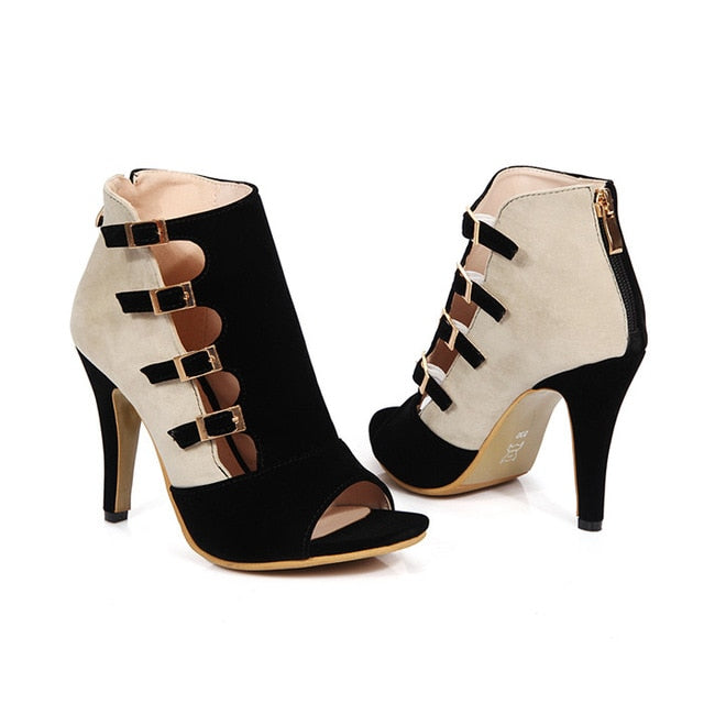 Women Shoes High Heels Gladiator Shoes Plus Size Summer Party Pumps Red Buckle High Heel Shoes Zip Chaussure Femme