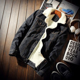 Fashion Men'S Trendy Warm Fleece Denim Jacket - Sheseelady