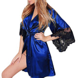 Women Sexy Silk Dressing Babydoll Lace Lingerie Belt Bath Robe Nightwear Women Sexy Nightwear Plus Size Female Bathrobes