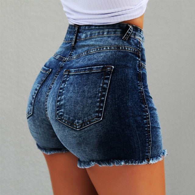 Fashion Women Summer High Waisted Denim Shorts Jeans Women Short New Femme Push Up Skinny Slim Denim Shorts - Sheseelady