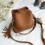 Tassel Shoulder Bag Female Vintage Crossbody Bags For Women Bucket Bag Handbags Designer Scrub Daily Sac