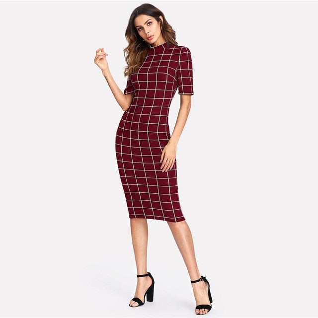 Elegant Stand Collar Short Sleeve Midi Dress - Sheseelady