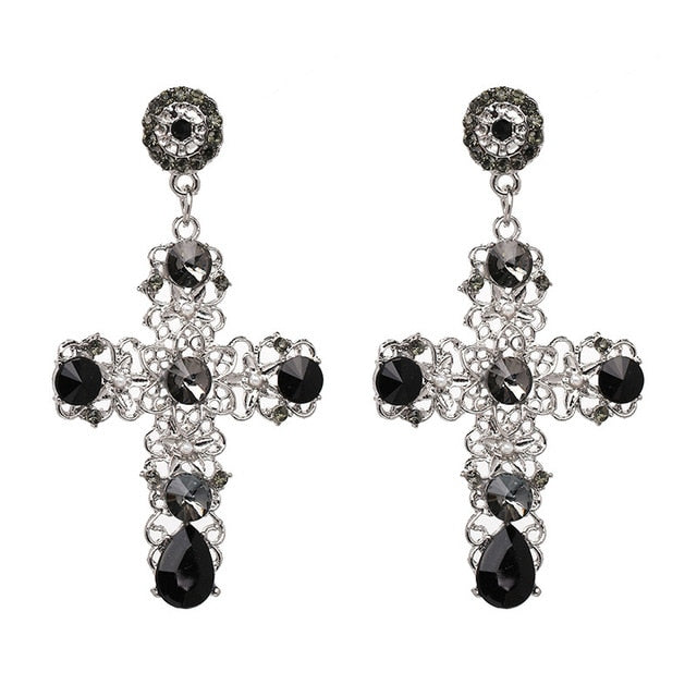 Vintage Boho Crystal Cross Drop Earrings For Women Baroque Bohemian Large Long Earrings Jewelry Brincos