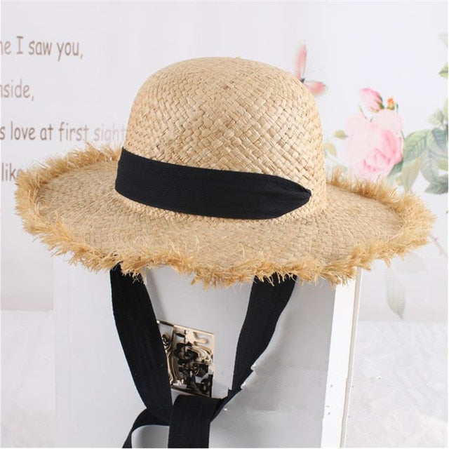 Lace Strap Straw Hat Bow Wide Grass Female Summer Cap Beach Visor Outdoor Holiday Beach Sun Protection Hat Collapsible