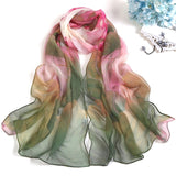 Fashion Women Lotus Flower Printing Retro Long Soft Wrap Scarf - Sheseelady