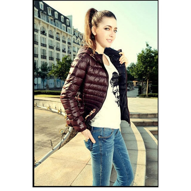 Women Outwear Basic Jacket Coat Slim Hooded Cotton Casual Fashion Down