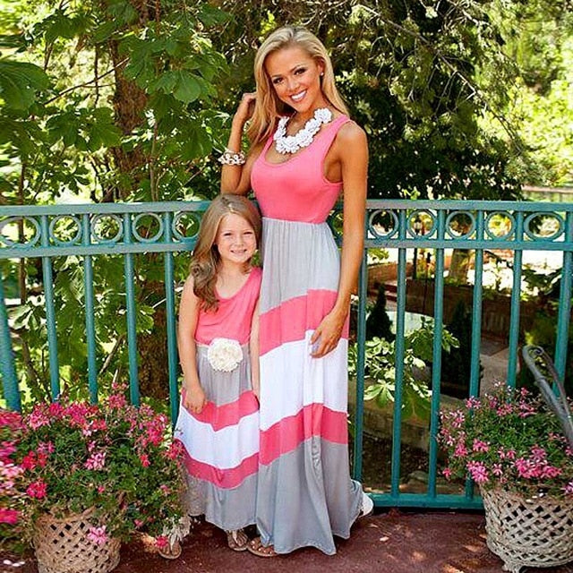 Mother Daughter Striped And Long Sexy Dresses