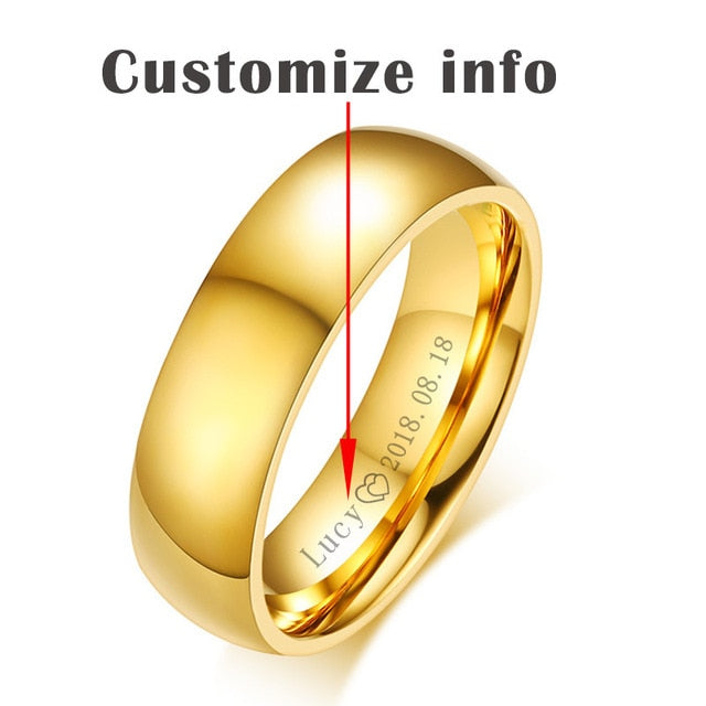 Personalized Gold-Color Wedding Bands Ring For Women Men Jewelry 6Mm Stainless Steel Engagement Ring Anniversary Gift
