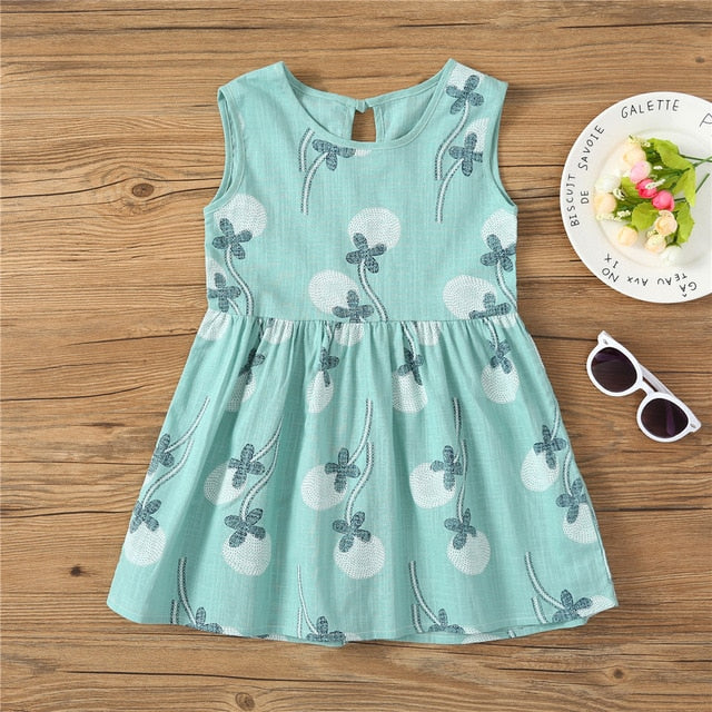Girl Sling Cotton Sleeveless Print Flower Princess Dress - Sheseelady