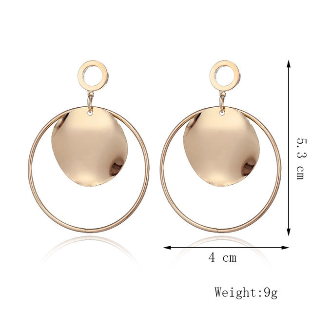 Punk Style Fashion Semicircle Round Geometric Drop Earrings For Women Metal Gold Dangle Earring Female Statement Jewelry Gifts