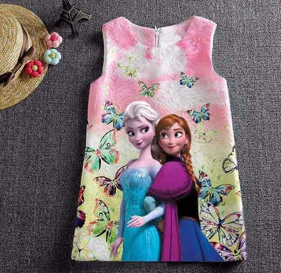 Butterfly Print Anna Elsa Dress For Girls - Sheseelady