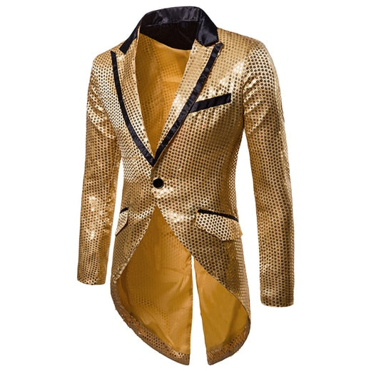 Shiny Gold Sequin Glitter Embellished Men'S Blazer Jacket