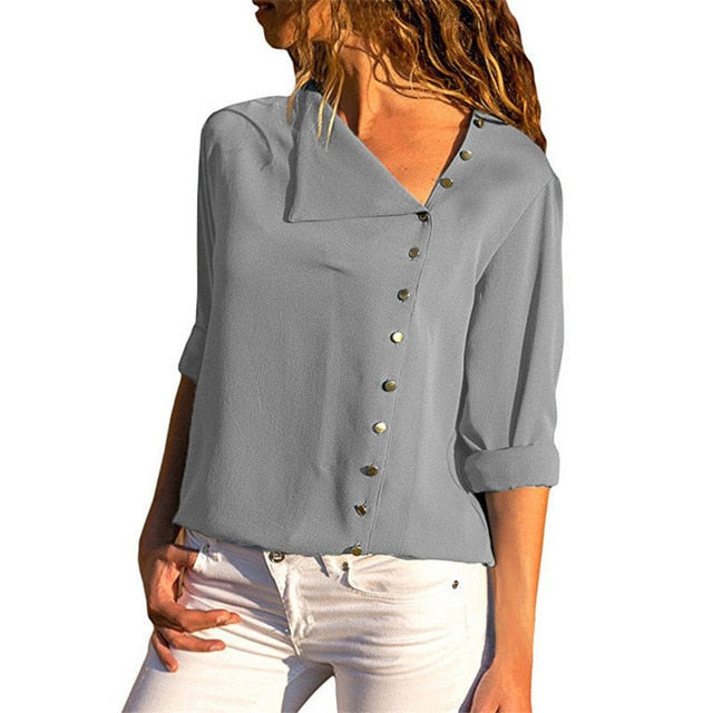 Chiffon Long Sleeve Skew Collar Solid Office Women Blouses And Tops - Sheseelady