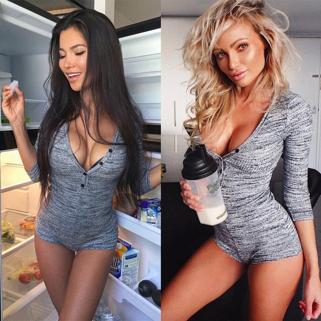 Malha sexy bodysuit mulheres rompers bodycon macacão de manga comprida bodysuit mulheres outono primavera costelas roupas playsuits - Sheseelady