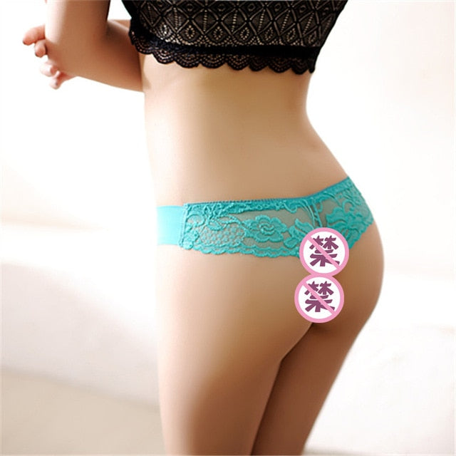 Women'S Underwear Sexy Erotic Lingerie G-String Thongs Lace Floral Sheer Low Waist Ice Silk Briefs Seamless Panties