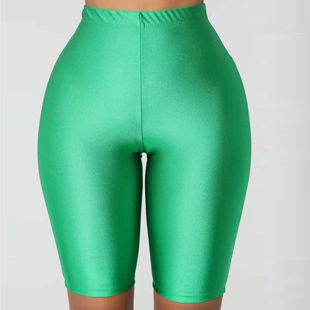 Shiny Sexy High Waist Shorts Women Biker Shorts Summer Classic Casual Active Wear Gloss Slim Fit Shorts Women Fitness