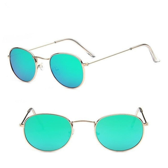 Retro Round Sunglasses Women Brand Designer Sun Glasses For Women Alloy Mirror Sunglasses Female Oculos De Sol