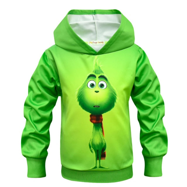 Grinch Full Face 3D Hooded T Shirts For Kids