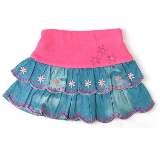 Blue Denim Bows Floral Embroidery Skirts For Girls - Sheseelady