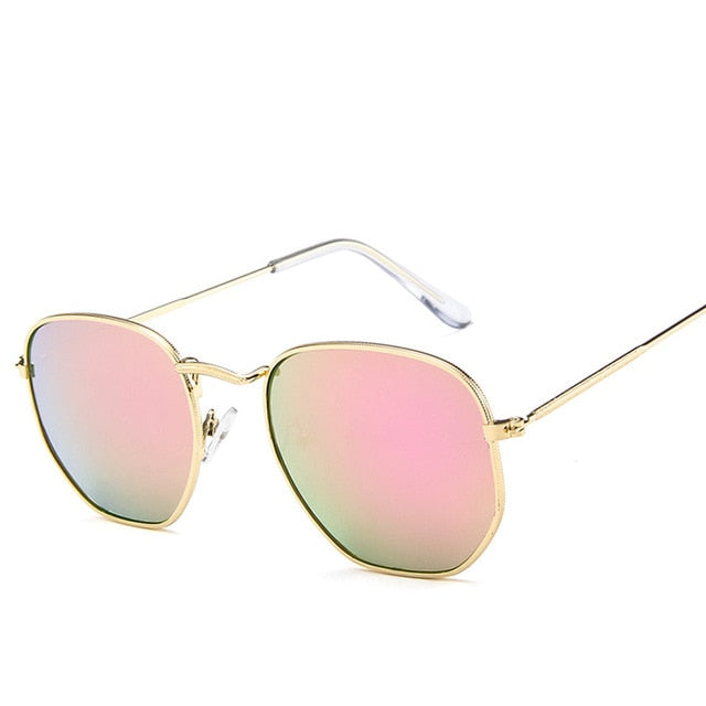 Fashion Sunglasses Women Brand Designer Small Frame Polygon Clear Lens Sunglasses Men Vintage Sun Glasses Hexagon Metal Frame - Sheseelady