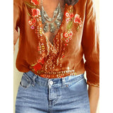 Sexy V Neck Short Sleeve Embroidered Batwing Loose Blouses