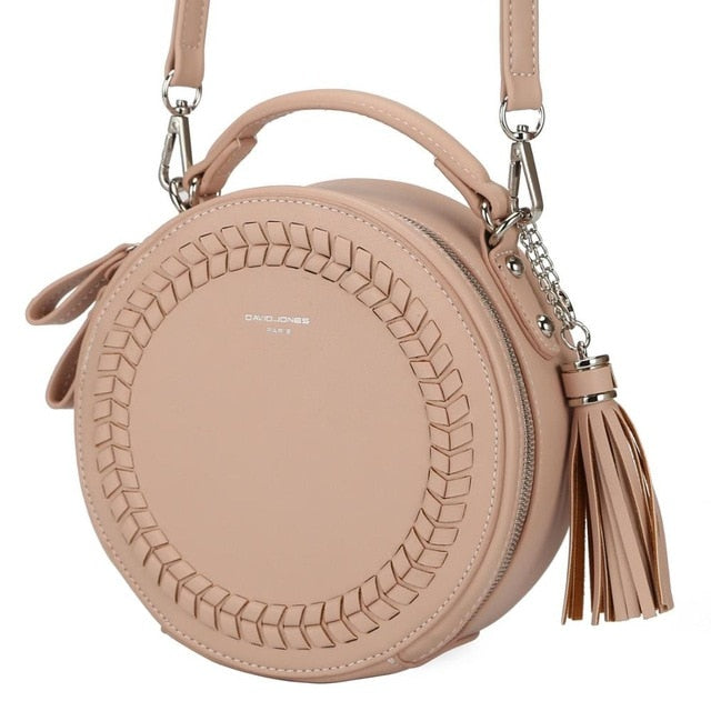 Pu Cute Criss-Cross Knitting Round Bag With Small Strap