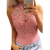 Body Lace Summer Playsuit Bodycon Sleeveless Patchwork Sexy Bodysuit Feminino New Women Rompers Hollow Out Overalls - Sheseelady