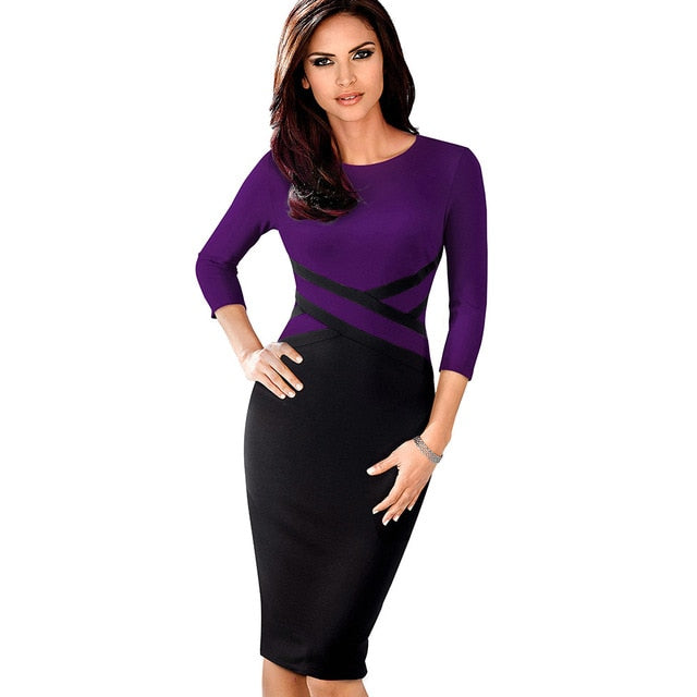 Elegant Vintage Patchwork Business Party Bodycon Dress - Sheseelady