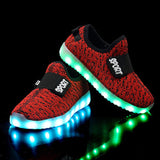 Led Usb Recharge Glowing Hook Loop Shoes For Kids