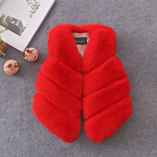 Children Girls Faux Fur Vest Autumn & Winter Fashion Thick Warm Colorful Waistcoat Kids Outerwear Baby Girl Christmas Clothes - Sheseelady