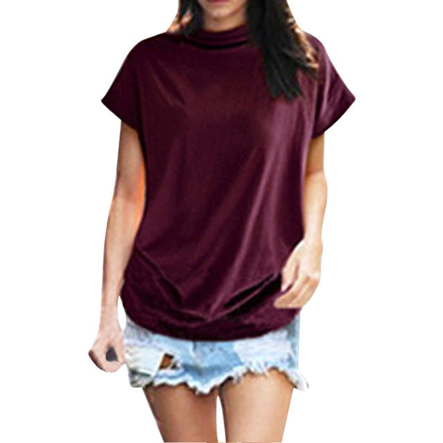 Women Casual Turtleneck Short Sleeve Cotton Solid Blouse