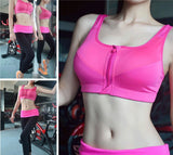 Hot Women Zipper Push Up Sports Bras Vest Underwear Shockproof Breathable Gym Fitness Athletic Running Yoga Bh Sport Tops - Sheseelady
