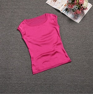 New Casual Chiffon Silk Blouse Slim Sleeveless Tops Blouses